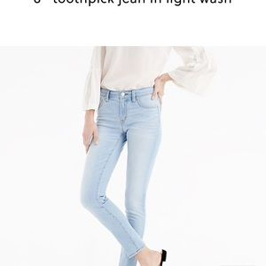 "J. Crew 8"" toothpick jean in light wash"